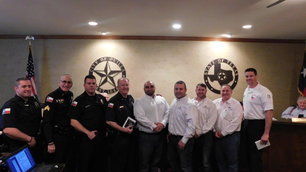 Fire and Police recognition.Sta Farm Ins