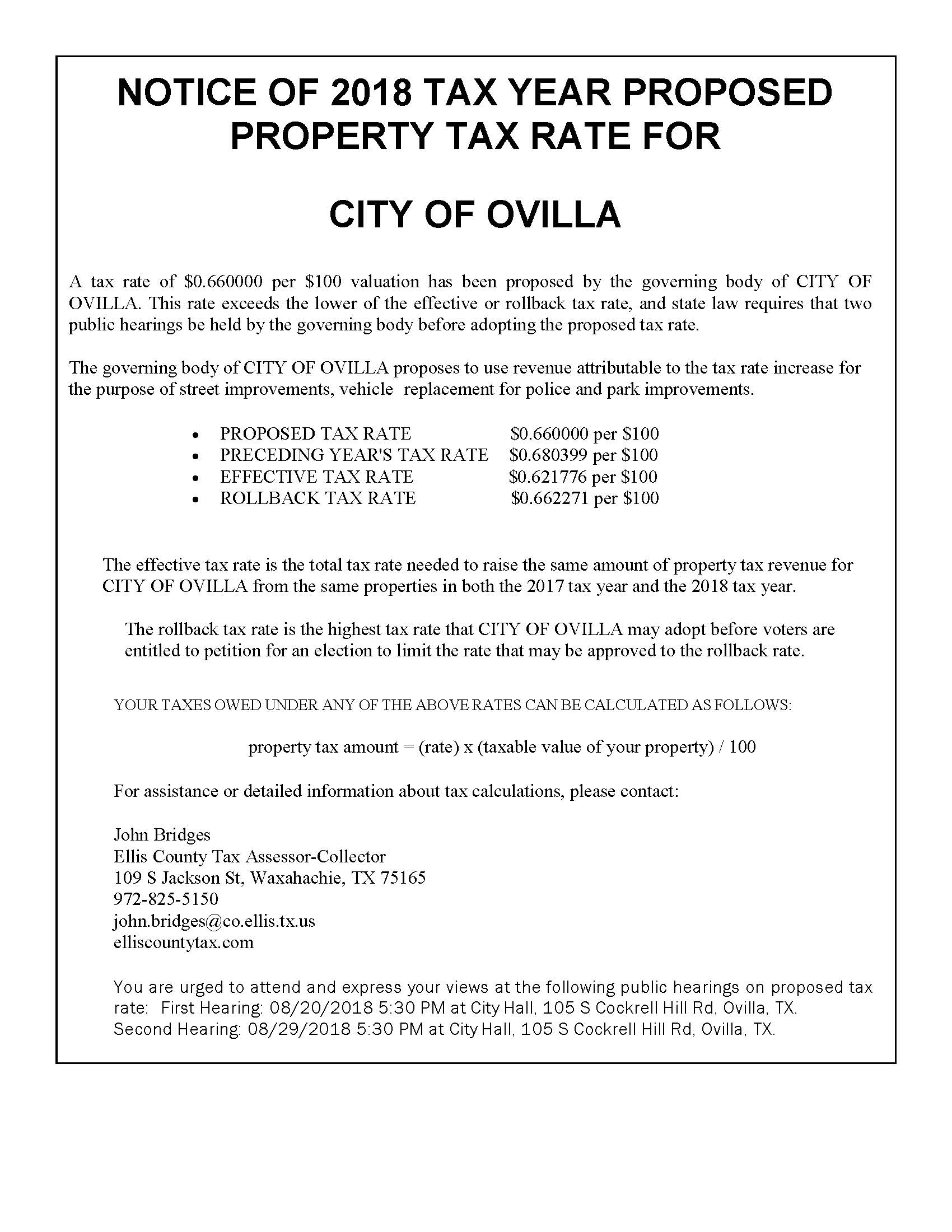 NOTICE. property tax year proposedV2